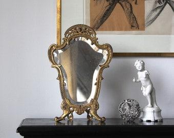 SALE! Antique Bradley & Hubbard Dresser Mirror, Rococo Mirror, Vintage Beveled Glass Mirror, Easel Backed Mirror, Wedding Gift