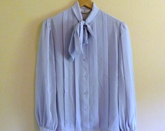 PREVIOUSLY 37.00 - Vintage 80s Gray Tuxedo Front Pintuck Secretary Blouse with Tie Neck - Size S/M/L