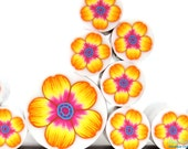 Warm Yellow , Orange and Pink Polymer clay millefiori Flower cane , raw and unbaked polymer clay Fimo cane by Ronit Golan