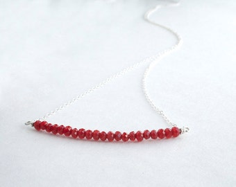 Sterling Silver Bar Necklace - Red Glass Beaded Necklace for Women - Gifts For Girlfriend