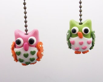 One Owl Ceiling Fan Pull Chain -  Pink, Green - Owl Nursery - Children's Woodland Themed Room Decor - Owl Themed Room Decor - Polymer Clay