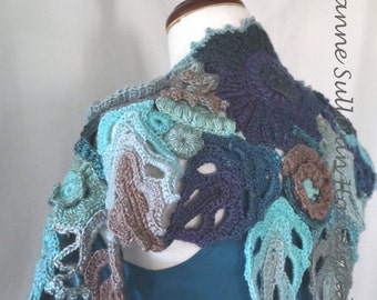 Free Form Crocheted Shoulder Wrap, Woman's 3d Free Form Mini Shawl, Multi Color Aqua Teal Blue, Woman's Wearable Art Wrap
