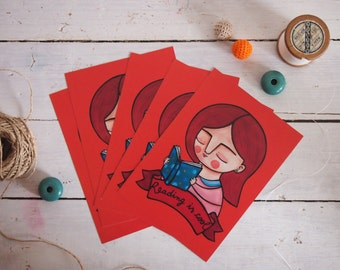 Reading is cool postcards set of 5 red illustration