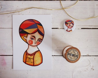 SET, autumn portrait postcard & red girl portrait brooch