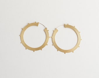 Azur Hoops - Large Brass Geometric Hoop Earrings, Lightweight