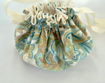 Paisley Jewelry Bag, Cream Blues Greens, Jewelry Travel Pouch, Double Drawstring, Cotton Fabric