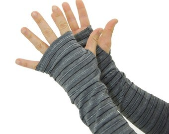 Arm Warmers in Grey and Silver Tinsel - Fingerless Gloves - Sleeves