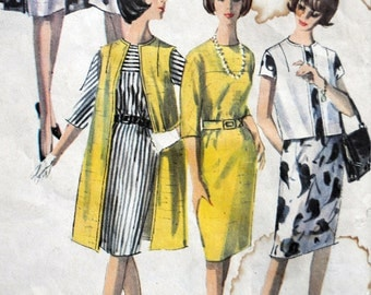Simplicity 5834 - Great 1960s Shift Dress With Coat, Vest, Jacket - Classy Mad Men Style - Stunning Vintage Pattern - Size 12 (Bust 32)