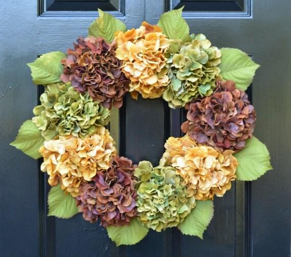 Fall Hydrangea Wreath, Hydrangea Fall Wreath, Fall Decor, Outdoor Fall Decoration, Fall Hydrangeas, XL Wreath