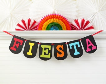 Fiesta Banner - 7.25 inches tall - Cinco De Mayo Banner Cinco De Mayo Party Decoration Fiesta Birthday Party Decor Fiesta Party Garland
