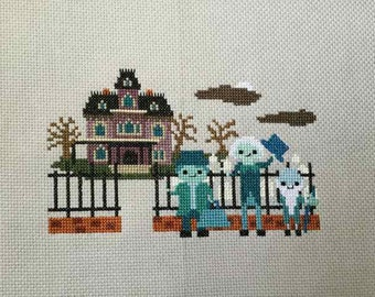 Haunted Mansion Cross Stitch- Disney Ride Inspired Parody PDF/Instant Download