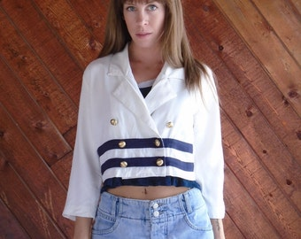 White and Navy Sailor Striped CROP Blazer Jacket - Vintage 80s - SMALL S