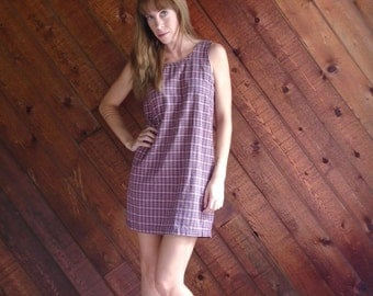 Pink Plaid Checkered Sleeveless Mini Shift Dress - Vintage 90s - XS S