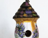 Golden Brown and White Birdhouse Light / Fan Pull with Lots of Flowers