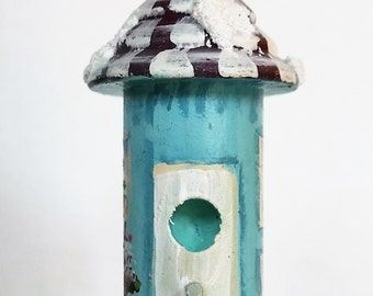 Turquoise Christmas Birdhouse with Snow , Snowman and Christmas Tree