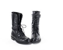 Vintage 90s Military Boots Black Leather Toe Combat Boots Mens Size 9 Womens Size 10