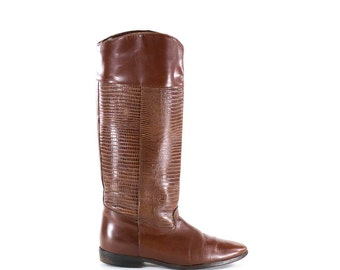 Vintage Boots Flat Boots Tall Brown Lizard Texture Leather Boots Size 6