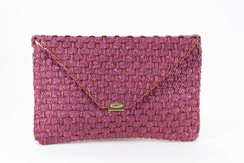Purple Clutch Bamboo Woven Dusty Rose Mauve Raffia Envelope