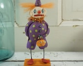 Halloween Decor // Halloween Art // Folk Art // Clown // Pumpkin // Vintage Style // Art Doll // Hand Sculpted Halloween //