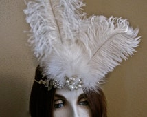 Great Gatsby Bride Feathered Tiara 1920s White Ostrich Feathers Rhinestones Pearls Aurora Crystals 20s Flapper Glamour Headpiece Crown