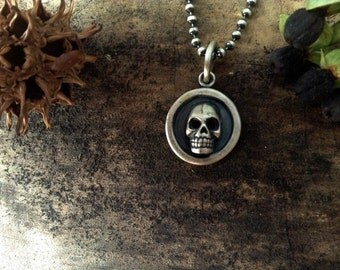 human skull pendant, sterling silver, layering necklace, silver skull pendant, skull jewelry, gothic necklace, ready to ship