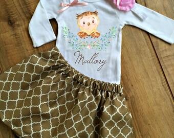 Personalized Woodland Owl Skirt Set - Owl Birthday Dress - Owl Outfit - Owl Dress