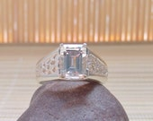White Topaz Ring Sterling Silver Mens April Birthstone Made To Order