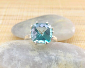 Teal Blue Topaz Ring Sterling Silver Cushion Cut Ready to ship size 7 On Sale