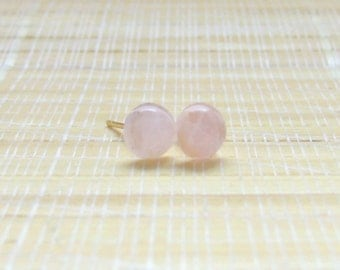 Rose Quartz Studs Gold Plated Earrings 6mm