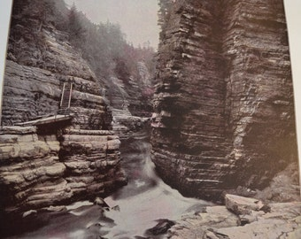 1894 Scenic Photography of America - Hell Gate Ausable New York - Landscape Nature Antique Victorian Era Fine Art for Framing 100 Years Old