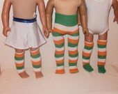 18 inch Doll Tights, Knee Socks, Leg Warmers, Green, White, Orange Striped, Halloween, American Made,  Girl Doll Clothes