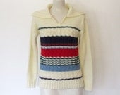 Vintage 1980s Foxmoor / Ivory & Striped Acrylic Knit Pullover Sweater w/ Large Collar