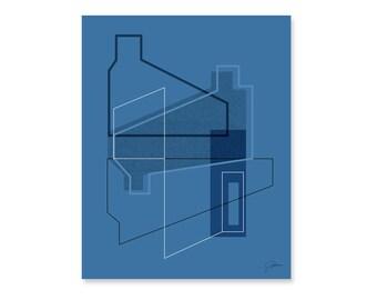 Navy Abstract Art Print, Living Room Art Print, Minimalist Poster, Modern Design Poster