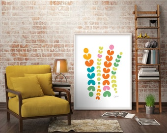 Large Mid Century Modern Art Print Extra Living Room Wall