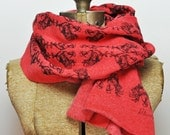 Hand Printed Rooster Scarf - Eco Fleece