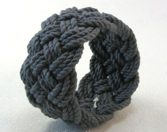 midnight blue rope bracelet hand dyed cotton turks head knot bracelet nautical rope work rope jewelry 3677