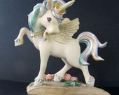 Vintage Rainbow Unicorn Figurine Collectors Edition Season of Rainbow Dreams Sweethearts Signed and numbered Hamilton Collection 1990s
