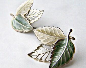 Vintage Post Earrings Enameled Aluminum Leaves Autumn Leaf Nature Inspired Jewelry 1970s
