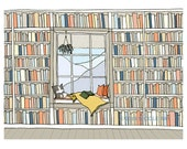 A window seat, illustrated art print, library art, books by the window