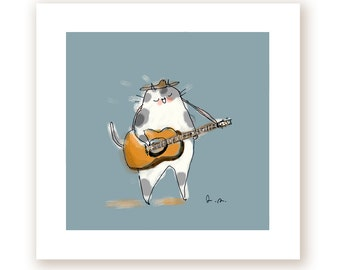 Guitar Cat Print - Music Kitty - Cat Dad - Father's Day GIft-  Music Lover - Gift for Musician