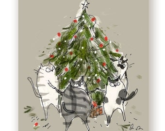 Christmas Cat Card - Tree Dance - Funny Christmas Card Cat