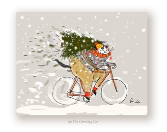 Merry Christmas Card - Bike - Cycling Cat - Christmas Cat Card - Cat Lover - Holiday Cat Card