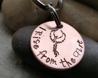 Phoenix Keychain, I rise from the Fire, Reborn keychain, Geeky chic, Fandom