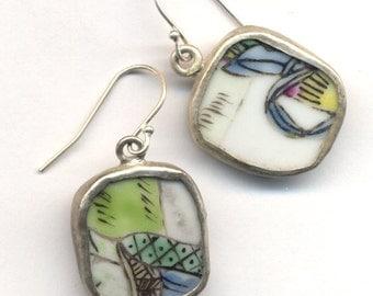 Antique Pottery Earrings in Blue White and Green on Sterling Silver ear wire, OOAK pottery Earrings, Orande earrings by AnnaArt72