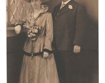 All Dressed Up vintage photo Older Couple Anniversary Flowers Dress Hat Mustache Gentleman 1900s