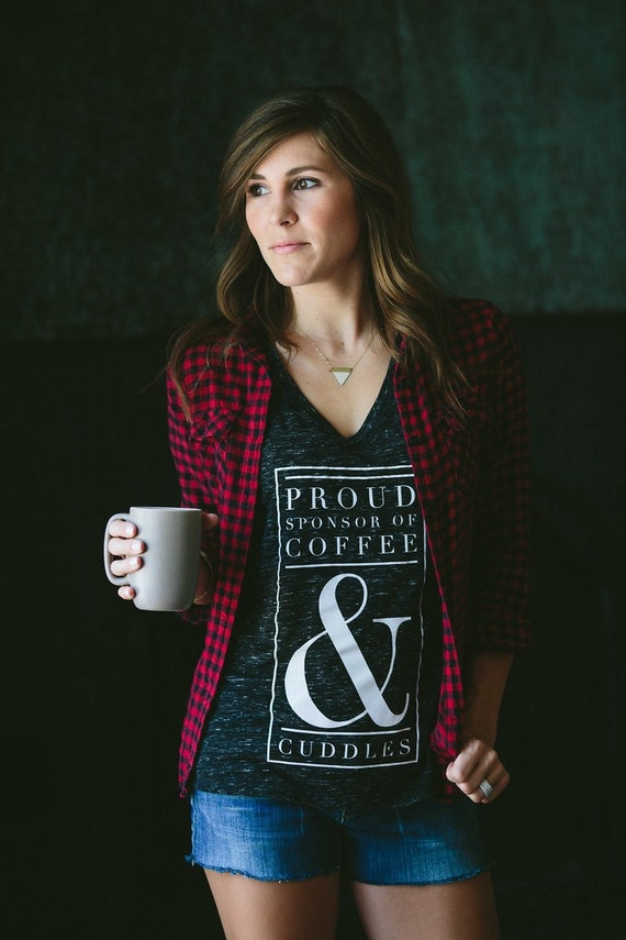 Coffee & Cuddles womens graphic short sleeve vneck shirt