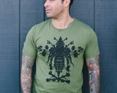 men's army green rorschach bee tee sizes s, m