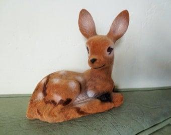 Vintage Deer, Flocked Deer, Animal Figurine, Reclining Fawn, Flocked Fawn, Christmas Deer, Woodland Deer Figurine, Made in Hong Kong