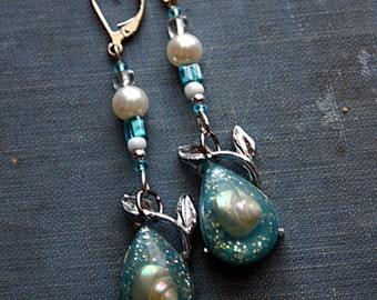 Earrings, Steampunk, Mermaid Trinket, Sea Shell, Vintage Assemblage, Droplet, Blue, White
