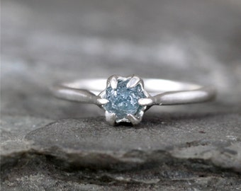Blue Rough Uncut Diamond Engagement Ring - Basket Weave Setting - Sterling Silver - Solitaire Uncut Rough Raw Diamond Rings - Made in Canada